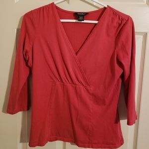 2/$20 Eddie Bauer Cross Over V-Neck Top with 3/4 Sleeves Size Small